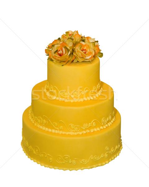 Esküvői torta díszített virágok felső izolált fehér Stock fotó © gsermek