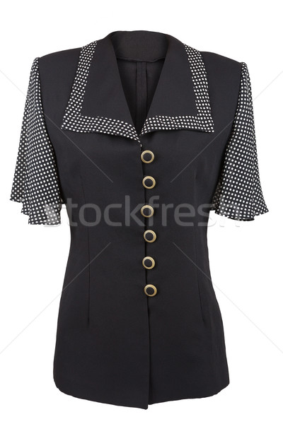 Black elegant blouse with dotted collar and sleeves, isolated ov Stock photo © gsermek