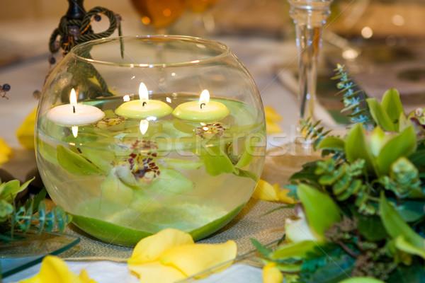 Groene orchidee arrangement kaarsen water huwelijk Stockfoto © gsermek
