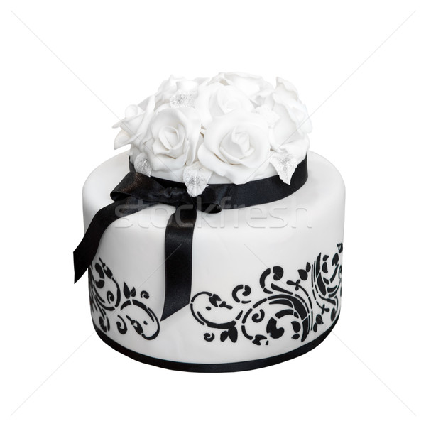 Elegant  black and white wedding cake, isolated on white Stock photo © gsermek