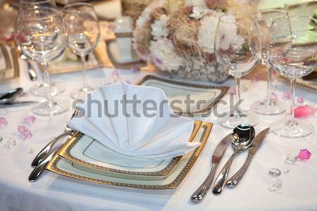 Stok fotoğraf: Zarif · düğün · parti · tablo · plaka · altın