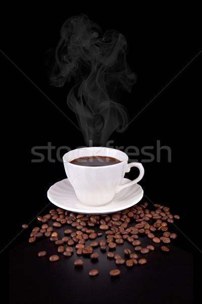 Biały kubek hot płynnych pary czarno białe Zdjęcia stock © gsermek