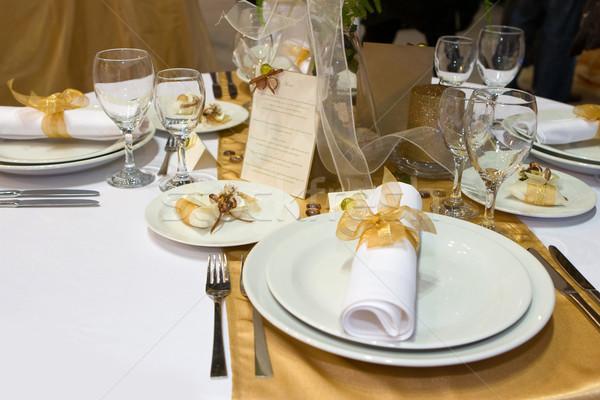 ストックフォト: 表 · セット · 結婚式 · ディナーテーブル · ディナー · ガラス