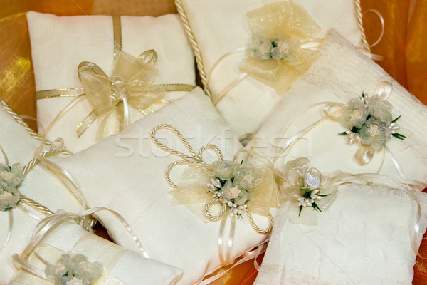 Wedding ring cushions with flowers and ribbons  Stock photo © gsermek