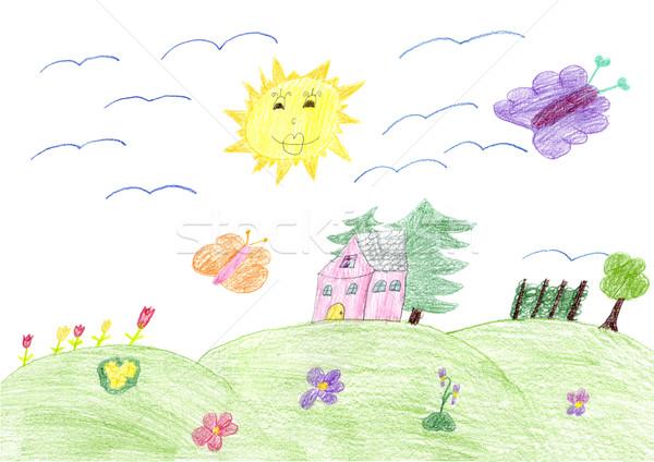 çizim ağaç bahar okul doğa çocuk Stok fotoğraf © gsermek