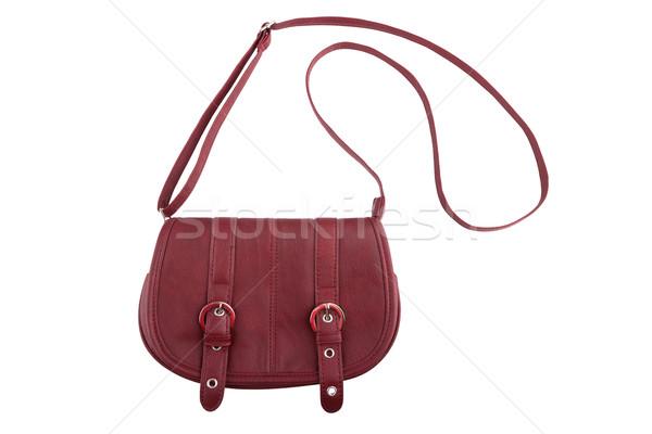 Vrouwelijke portemonnee geïsoleerd witte Rood zak Stockfoto © gsermek