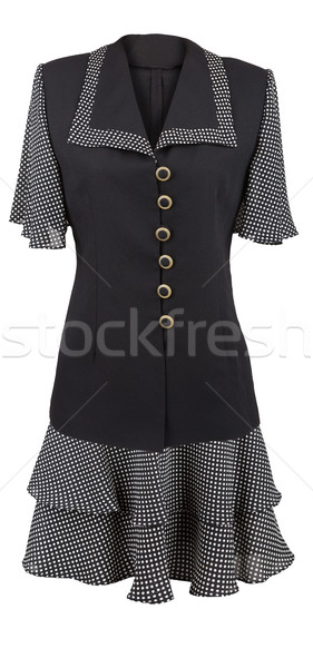 Black elegant dress with dotted collar and sleeves Stock photo © gsermek