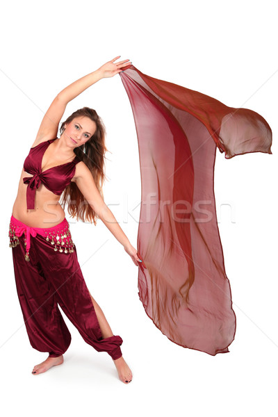 Güzel genç göbek dansçı peçe yalıtılmış Stok fotoğraf © gsermek