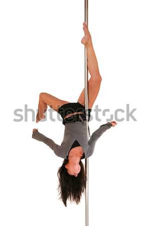 Faktör genç kadın egzersiz kutup dans uygunluk model Stok fotoğraf © gsermek