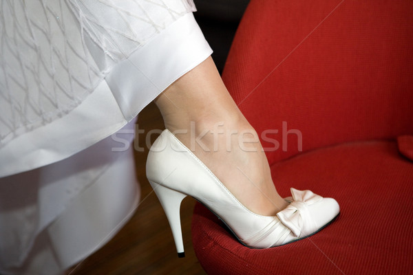 Bruiden been schoen bruid Rood jonge Stockfoto © gsermek