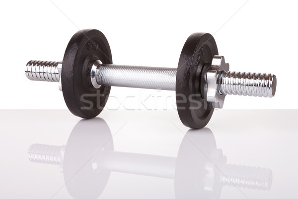 Chrome metal dumbbell isolated on white Stock photo © gsermek