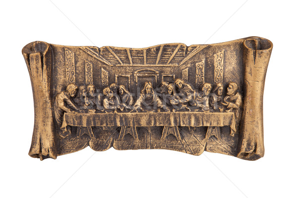 Utolsó vacsora Krisztus megkönnyebbülés izolált fehér Stock fotó © gsermek