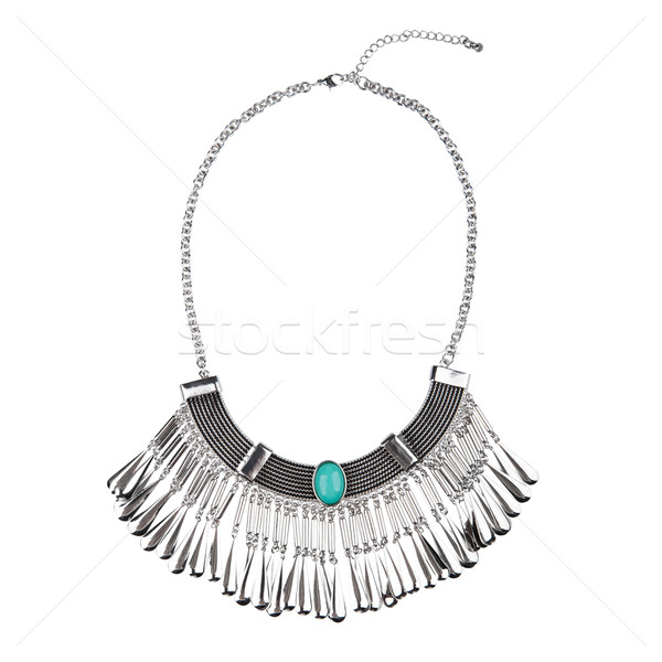 Silver statement necklace isolated on white Stock photo © gsermek