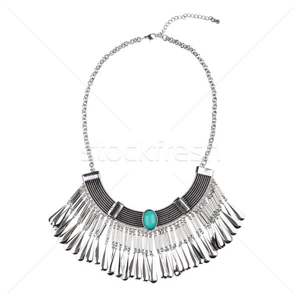 Prata colar isolado branco belo azul Foto stock © gsermek
