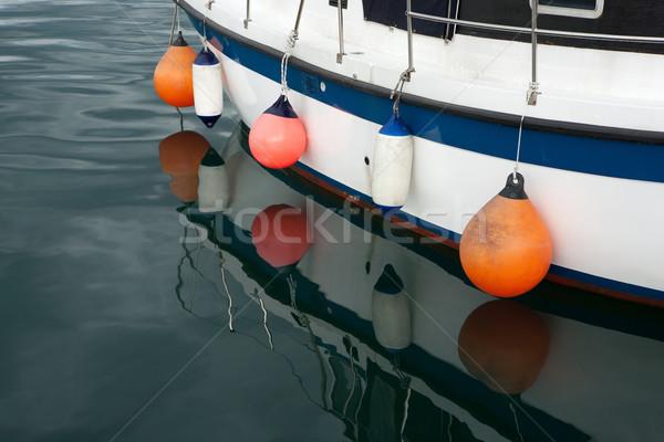 Kleurrijk baken boot kant zee Blauw Stockfoto © gsermek