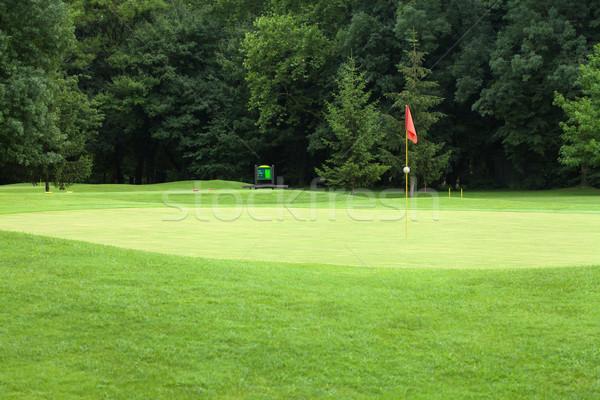 Red flag on a golf course, focus on the flag Stock photo © gsermek