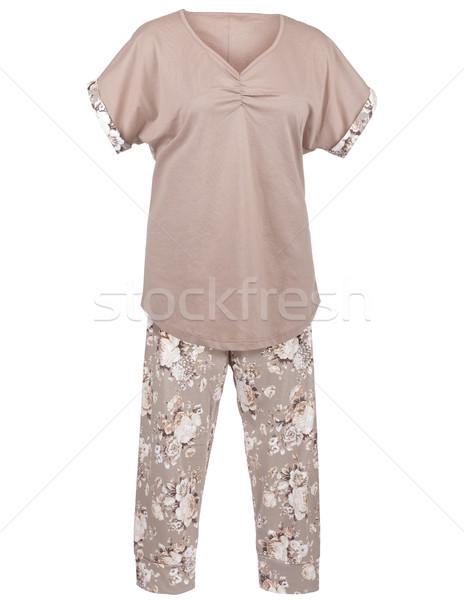 Signore pigiama floreale stampa isolato bianco Foto d'archivio © gsermek