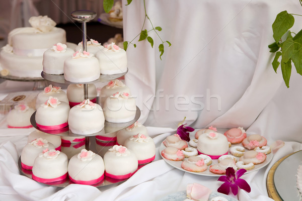 Table decorated with wedding cakes  Stock photo © gsermek