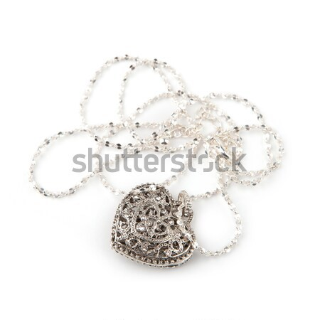 Silver heart pendant necklace, Isolated on white  Stock photo © gsermek