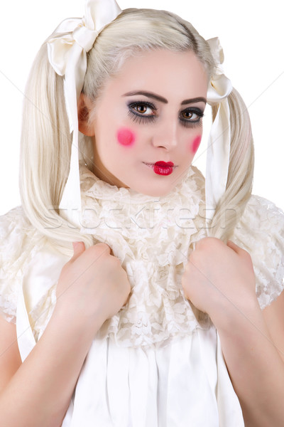 Girl with a dolly makeup Stock photo © gsermek
