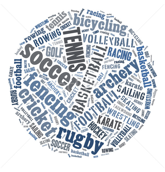 Deportes nube de palabras golf fútbol baloncesto pelota Foto stock © gsermek