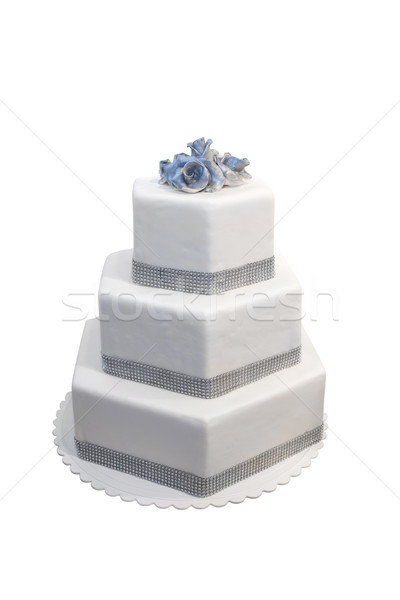 Three tiered wedding cake decorated with diamonds, isolated on w Stock photo © gsermek