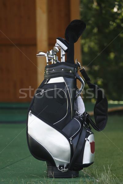 Golfütők táska fű golf sport fehér Stock fotó © gsermek