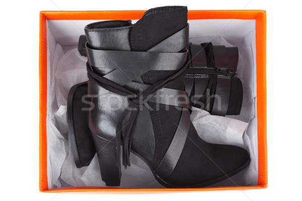 Black ankle boots in a box Stock photo © gsermek