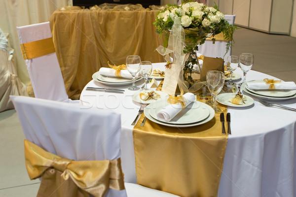 ストックフォト: 表 · セット · 結婚式 · ディナー · ガラス · 緑