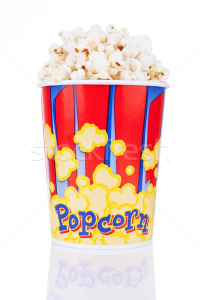 Seau plein popcorn isolé blanche réflexion Photo stock © gsermek