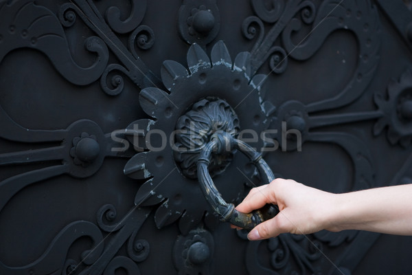 Female hand knocking on a closed door  Stock photo © gsermek