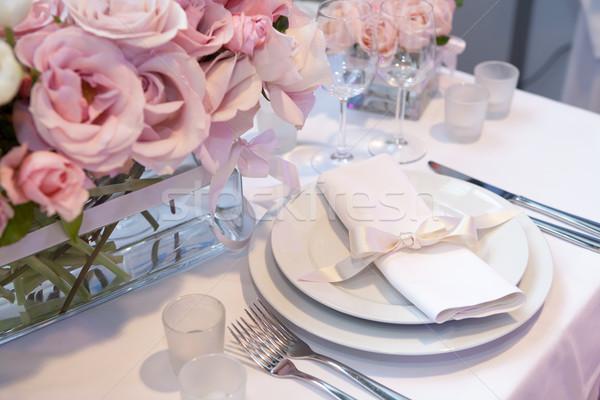 Detay düğün akşam yemeği gül güzellik mum Stok fotoğraf © gsermek