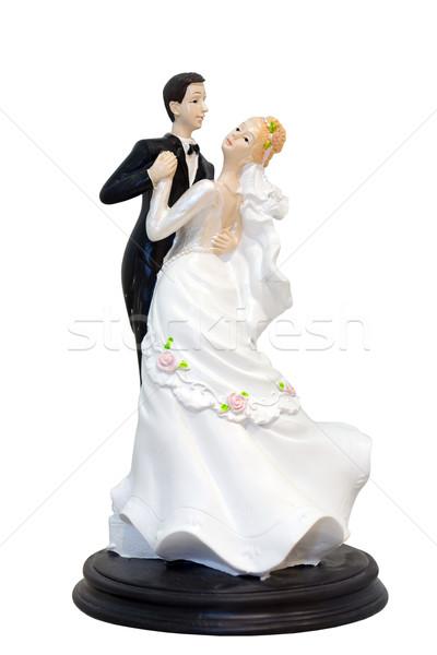 Bruiloft paar modellen bruidstaart geïsoleerd witte Stockfoto © gsermek