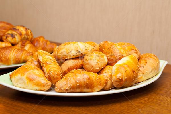 édes tálca étel fa fém konyha Stock fotó © gsermek