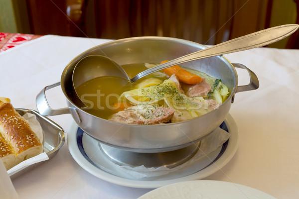 Pişmiş et güveç geleneksel gıda ekmek Stok fotoğraf © gsermek