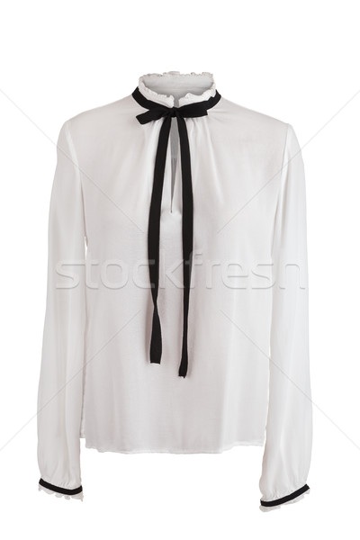 Elegant white blouse with frills around the collar and sleeves,  Stock photo © gsermek