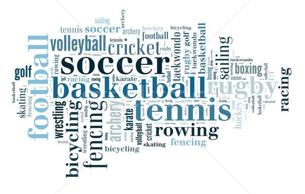 Deportes nube de palabras golf fútbol baloncesto nube Foto stock © gsermek