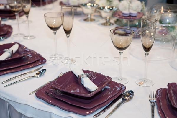 Elegante wedding cena tavola interni servizio Foto d'archivio © gsermek