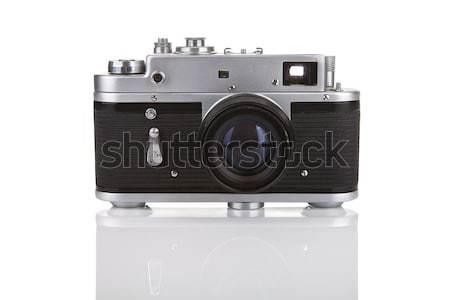 Starych kamery biały refleksji film Zdjęcia stock © gsermek