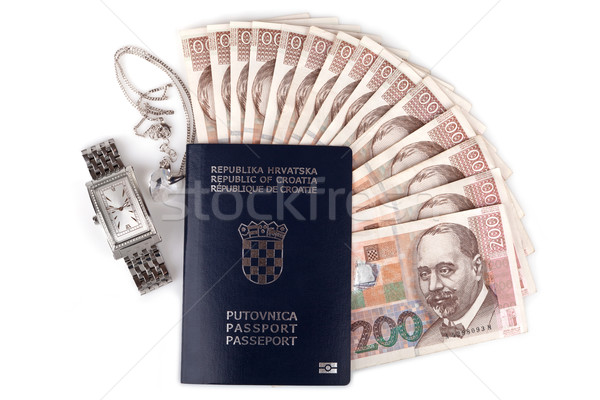 Croatian passport with valuables, isolated on white Stock photo © gsermek