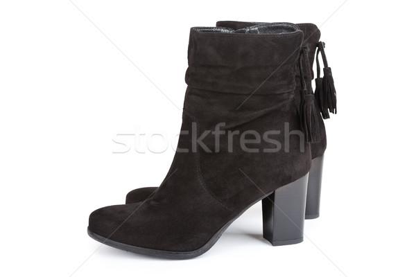 Zwarte enkel laarzen geïsoleerd witte achtergrond Stockfoto © gsermek