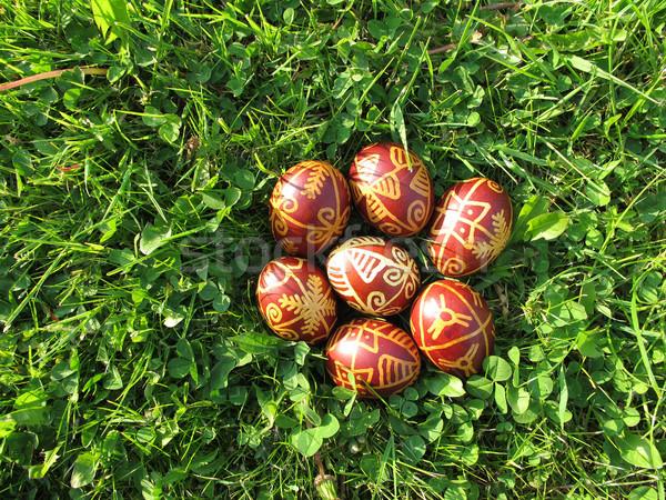 Paaseieren groen gras traditioneel Pasen voorjaar gelukkig Stockfoto © gsermek