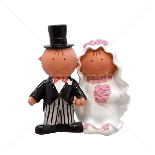 Casamento casal bolo de noiva isolado branco amor Foto stock © gsermek