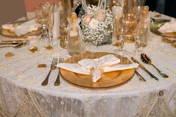 Luxueus bruiloft diner gouden voedsel restaurant Stockfoto © gsermek