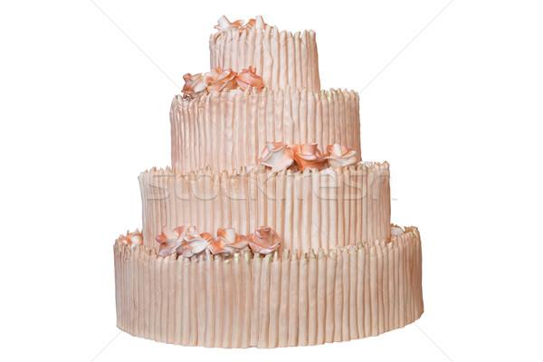 Elegáns esküvői torta bézs virágok izolált fehér Stock fotó © gsermek