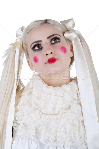 Portrait of a cute blond girl with long hair and skin like a dol Stock photo © gsermek
