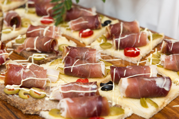 Prosciutto sonka finom őshonos háttér asztal Stock fotó © gsermek