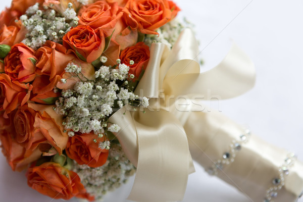 Wedding bouquet made of orange roses Stock photo © gsermek