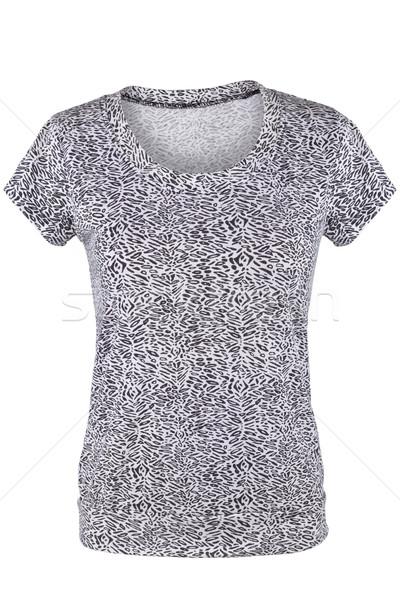 Zwart wit vrouwelijke tshirt patroon geïsoleerd witte Stockfoto © gsermek