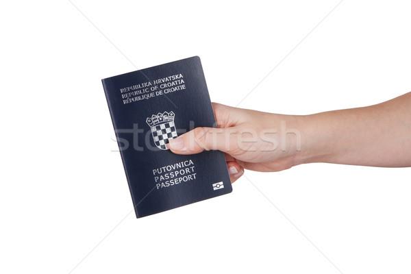Female hand holding Croatian passport Stock photo © gsermek